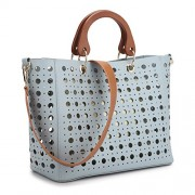 Dasein 2 in 1 Perforated Shoulder Bags for Women Large Handbag Tote Satchel w/ Inner Sequin Pouch - Hand bag - $159.99