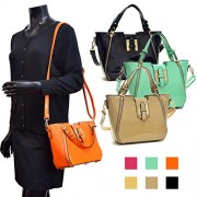 Dasein Fashion Designer Faux Leather Satchel Handbag Tote Shoulder Bag Purse For Women with Strap - Hand bag - $24.99
