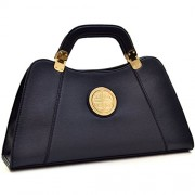 Dasein Flat Bottom Emblem A-Symmetrical Handbag Designer Shoulder Bag w/ Removable Shoulder Strap - Hand bag - $29.99
