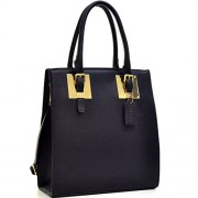 Dasein Structured Faux Leather Tote Satchel Bag with Gold-Tone Accent - Hand bag - $65.32