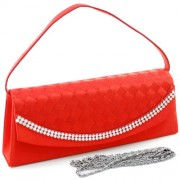 Dasein Women's Clutch Evening Purse Bag w/ Woven Design & Rhinestones - Hand bag - $29.99