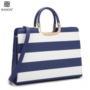 Dasein Women's Handbag PU leather Top Handle Satchel Designer Tote Purse Stripes Laptop Briefcase Bag - Hand bag - $28.99