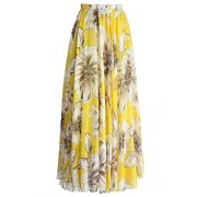 Dearlovers Women High Waist Pleated Boho Floral Maxi Chiffon Long Skirt Beach Skirts - Saias - $19.99  ~ 17.17€