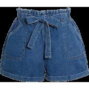 Denim paperbag shorts - Hlače - kratke -