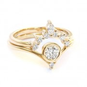 Diamond Wedding Ring Set, Unique Engagem - Aneis -