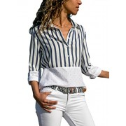 Dokotoo Womens Color Block Stripes Button Down T Shirts Casual Tops - My look - $15.99