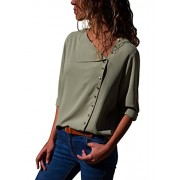 Dokotoo Womens Long Sleeve Button Down Solid Loose Casual Blouse and Tops T Shirts - My look - $9.99