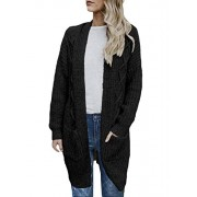 Dokotoo Womens Open Front Long Sleeve Chunky Cable Knit Long Cardigans Sweater with Pockets - My look - $26.99