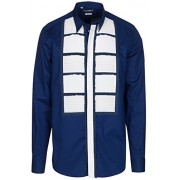 Dolce & Gabbana Men's 'Gold' Blue Tuxedo Style Pleated White Front Button Down Dress Shirt - Shirts - $845.00
