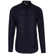Dolce & Gabbana Men's 'Gold' Navy Blue Tuxedo Style Pleated Front Button Down Dress Shirt - Shirts - $895.00