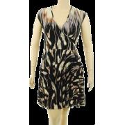 Donna Morgan Stretch V-Neck Dress Black/Mauve - Dresses - $89.93