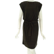 Donna Morgan Striped Belted Dress Black/brown - Dresses - $89.93