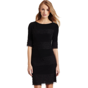 Donna Morgan Women's 3/4 Sleeve Novelty Jersey Dress with Ruffle Black - Dresses - $140.00