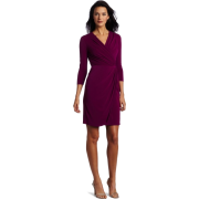Donna Morgan Women's Long Mock Wrap Dress Hollyhock - Dresses - $128.00
