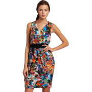Donna Morgan Women's Printed Draped V-Neck Dress Marigold - Dresses - $89.00