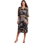 Donna Morgan Women's Printed Jersey Elbow Sleeve Dress Smoke - Dresses - $155.00