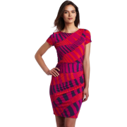 Donna Morgan Women's Printed Jersey Side Rouched Dress Fuschia Multi - Dresses - $64.00