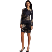 Donna Morgan Women's Printed Long Sleeve Dress Charcoal - Dresses - $148.00