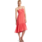 Donna Morgan Women's Solid Empire Chiffon Dress Coral - Dresses - $79.00