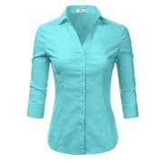 Doublju Basic 3/4 Sleeve Cotton Button Down Collared Shirts For Women With Plus Size - Shirts - $21.99
