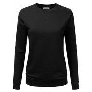 Doublju Crewneck Loose Fit Raglan Sleeve Fleece Pullover Sweatshirt For Women - Pullovers - $18.99