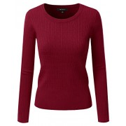 Doublju Fitted Crewneck Twisted Cable Knit Sweater For Women - Pullovers - $18.99
