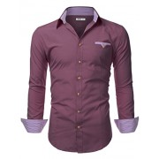 Doublju Mens Long Sleeve Slim Fit Tailored Button Down Collared Shirt - Shirts - $19.99