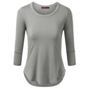 Doublju Round Neck Slim Fit Curved Hem T-Shirt For Women With Plus Size - T-shirts - $10.95