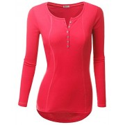 Doublju Womens Basic Casual Long Sleeve Thermal Henley T-Shirt - T-shirts - $19.99