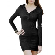 Doublju Womens Long Sleeve Henley Neck Basic Hoodie Dress - Dresses - $16.95