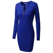 Doublju Womens Long Sleeve Ribbed Knit Dress With Zipper Front - Dresses - $26.99