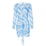 Drawstring pleated net gauze dress with straps and chest set - Vestidos - $25.99  ~ 22.32€