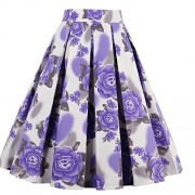Dressever Women's Vintage A-line Printed Pleated Flared Midi Skirts - Skirts - $14.88