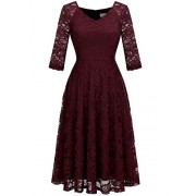 Dressystar Long-Sleeve A-Line Lace Bridesmaid Dress Midi for Wedding Formal Party - Dresses - $36.69