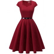 Dressystar Women Cap-Sleeve Glitter Vintage 1950s Retro Rockabilly Cocktail Party Dresses with Belt - Dresses - $59.99