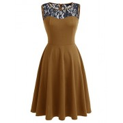 Dressystar Women Elegant Vintage Dresses Cocktail Party Dress Lace Neckline - Dresses - $44.99