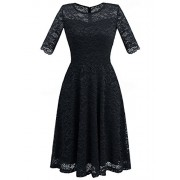 Dressystar Women Retro Lace Vintage 2/3 Sleeve Slim Prom Bridesmaid Dresses Knee Length - Dresses - $49.99