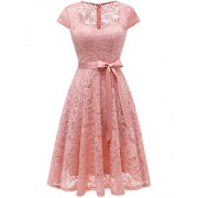 Dressystar Women Sweetheart A-Line Short Floral Lace Cocktail Bridesmaid Dress with Bow - Dresses - $60.99