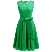 Dressystar Women's Floral Lace Dress Short Bridesmaid Dresses with Sheer Neckline - Dresses - $42.99