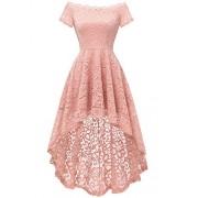 Dressystar Women's Lace Off Shoulder Cocktail Hi-Lo Bridesmaid Swing Dress - Dresses - $34.69