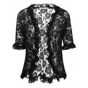 ELESOL Women Elegant Bolero Shrug Half Sleeve Lace Crochet Ruffle Open Front Cardigan - Shirts - $4.98