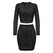 ELESOL Women Rhinestone Two Pieces Bodycon Dress Outfit Crop Top Midi Skirt Set - Dresses - $17.99