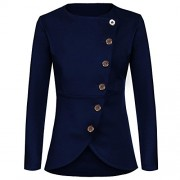 ELESOL Women Single Breast Blazer Casual Buttons Up Asymmetric Hem Jacket Coat - Shirts - $27.99
