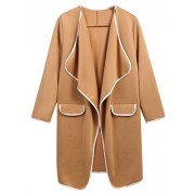 ELESOL Women's Draped Long Coat Waterfall Open Front Trench Coat Cardigan - Outerwear - $12.99