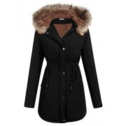 ELESOL Women's Military Hooded Warm Winter Parkas Faux Fur Lined Jacket Coats - Accessories - $28.99