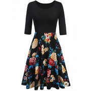 ELESOL Women's Vintage Patchwork Flare Dress A-line Floral Party Dress - Dresses - $12.99