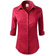 ELF FASHION Roll up 3/4 Sleeve Button Down Shirt for Womens Made in USA (Size S~3XL) - Long sleeves shirts - $22.99