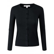 ELF FASHION Women Top Button Crew Neck Cardigun Sweater (Size S~3XL) - Cardigan - $13.99