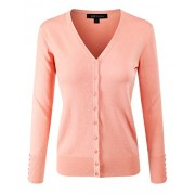 ELF FASHION Women Top Long Sleeve Button V-Neck Knit Sweater Cardigan (Size S~3XL) - Cardigan - $18.95