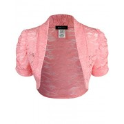 ELF FASHION Women Top Short Sleeve Floral Lace Shrug Open Front Bolero Cardigan (Size S~3XL) - Top - $22.99